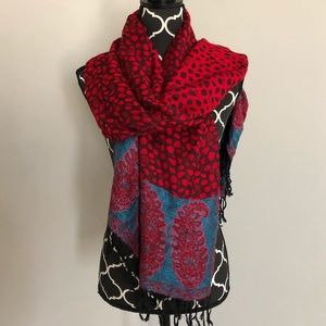 Accessories - Black Red Teal Leopard Paisley Scarf